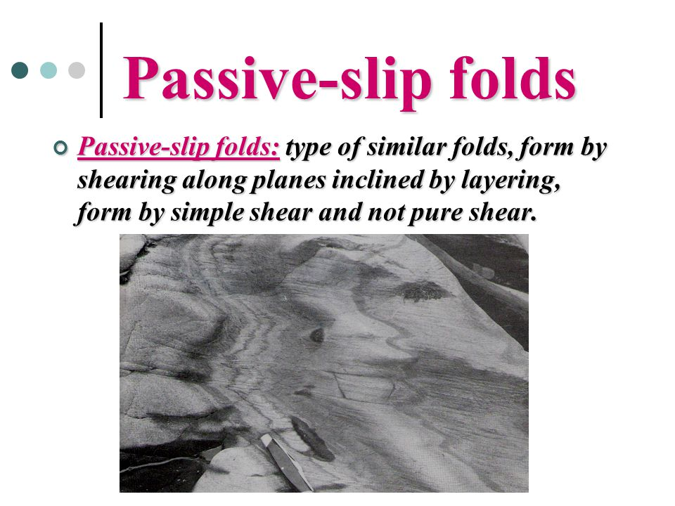 Passive-slip folds Passive-slip folds: type of similar folds, form by shearing along planes inclined by layering, form by simple shear and not pure sh