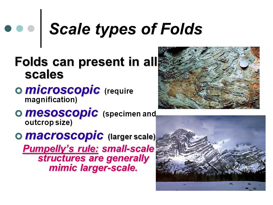 Scale types of Folds Folds can present in all scales microscopic microscopic (require magnification) mesoscopic mesoscopic (specimen and outcrop size)