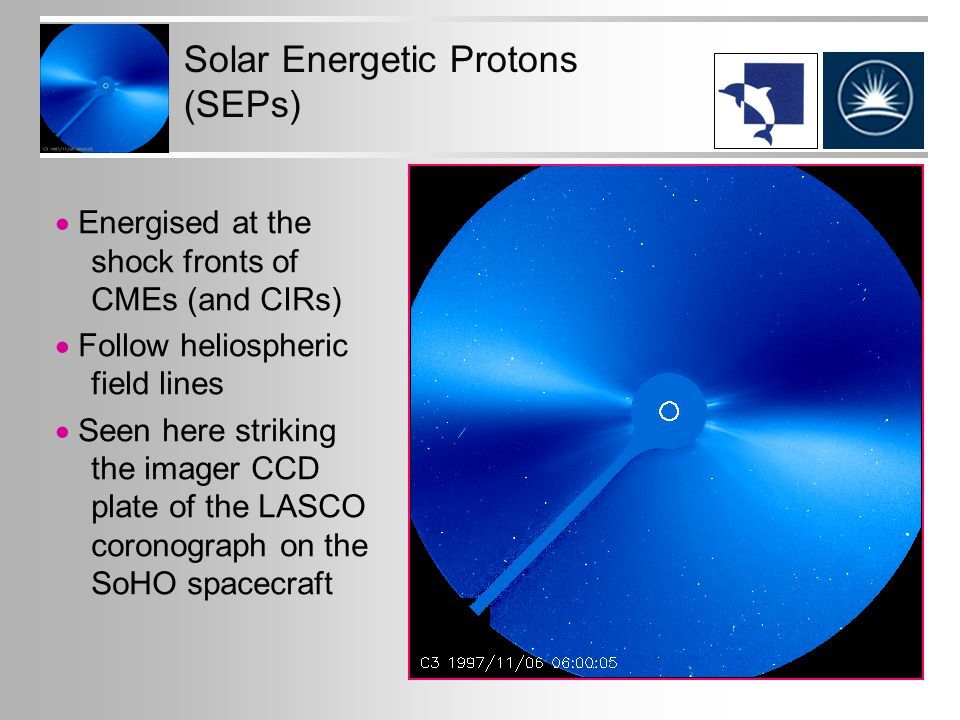 Solar Energetic Protons (SEPs)  Energised at the shock fronts of CMEs (and CIRs)  Follow heliospheric field lines  Seen here striking the imager CCD plate of the LASCO coronograph on the SoHO spacecraft