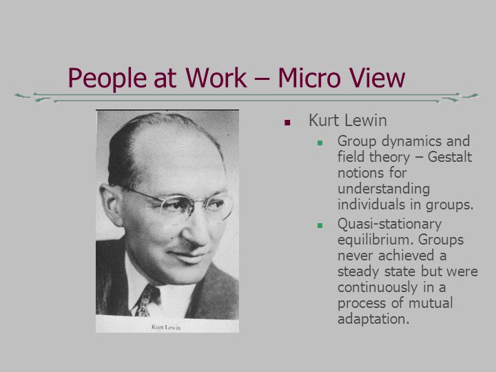People at Work – Micro View Kurt Lewin Group dynamics and field theory – Gestalt notions for understanding individuals in groups.