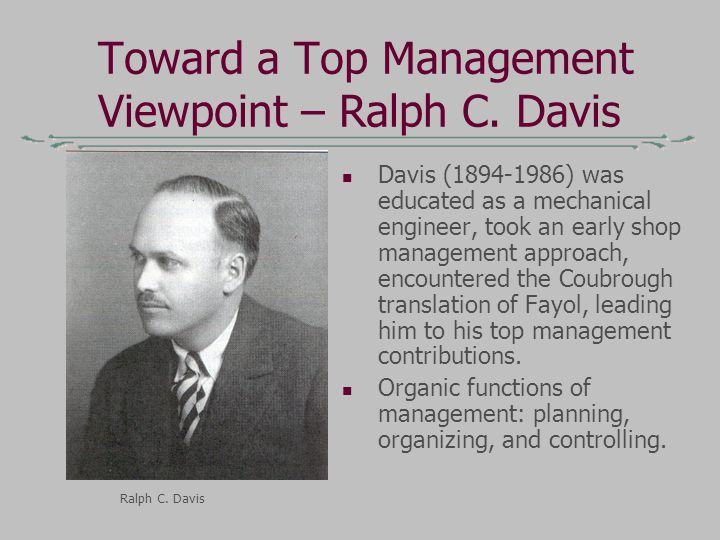 Toward a Top Management Viewpoint – Ralph C.