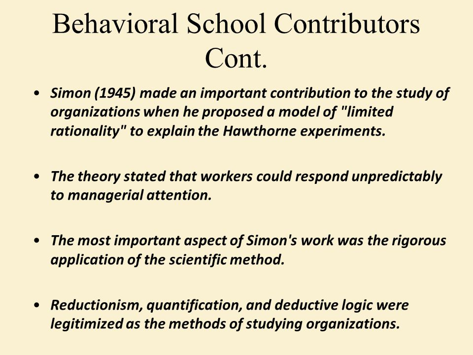Simon (1945) made an important contribution to the study of organizations when he proposed a model of limited rationality to explain the Hawthorne experiments.