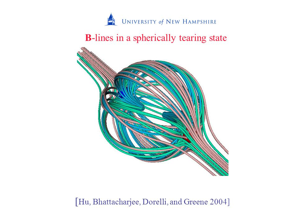 B-lines in a spherically tearing state [ Hu, Bhattacharjee, Dorelli, and Greene 2004]