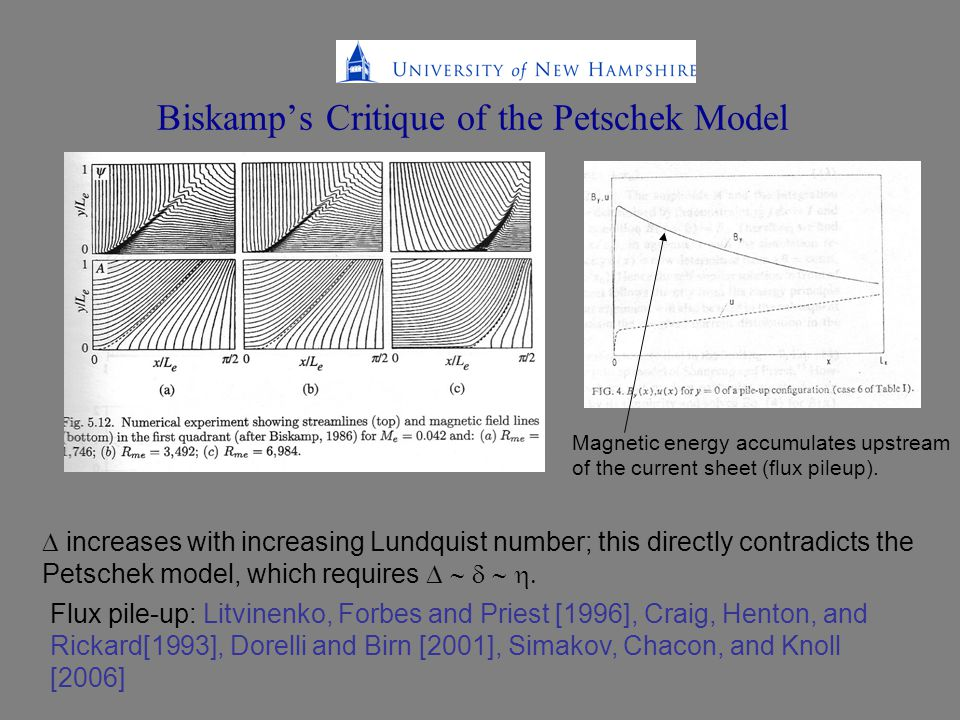 Biskamp's Critique of the Petschek Model  increases with increasing Lundquist number; this directly contradicts the Petschek model, which requires  Flux pile-up: Litvinenko, Forbes and Priest [1996], Craig, Henton, and Rickard[1993], Dorelli and Birn [2001], Simakov, Chacon, and Knoll [2006] Magnetic energy accumulates upstream of the current sheet (flux pileup).