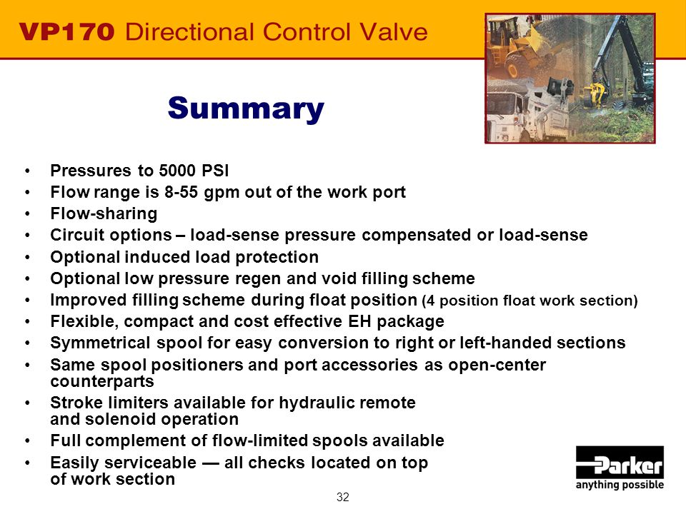 32 Summary Pressures to 5000 PSI Flow range is 8-55 gpm out of the work port Flow-sharing Circuit options – load-sense pressure compensated or load-se