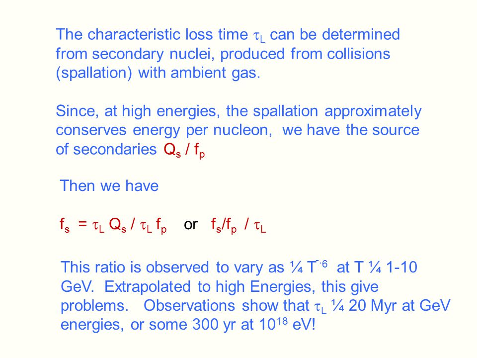 The characteristic loss time  L can be determined from secondary nuclei, produced from collisions (spallation) with ambient gas.
