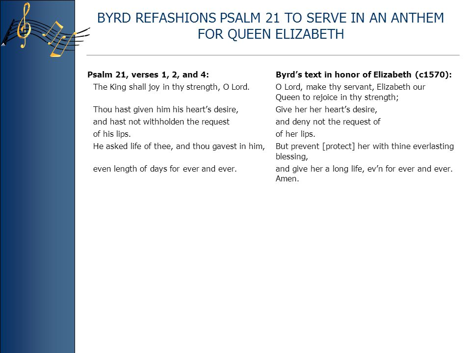 BYRD REFASHIONS PSALM 21 TO SERVE IN AN ANTHEM FOR QUEEN ELIZABETH Psalm 21, verses 1, 2, and 4: Byrd's text in honor of Elizabeth (c1570): The King shall joy in thy strength, O Lord.O Lord, make thy servant, Elizabeth our Queen to rejoice in thy strength; Thou hast given him his heart's desire,Give her her heart's desire, and hast not withholden the request and deny not the request of of his lips.of her lips.