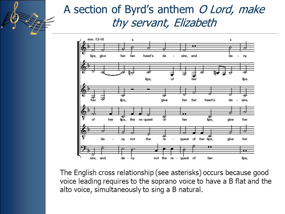 A section of Byrd's anthem O Lord, make thy servant, Elizabeth The English cross relationship (see asterisks) occurs because good voice leading requires to the soprano voice to have a B flat and the alto voice, simultaneously to sing a B natural.