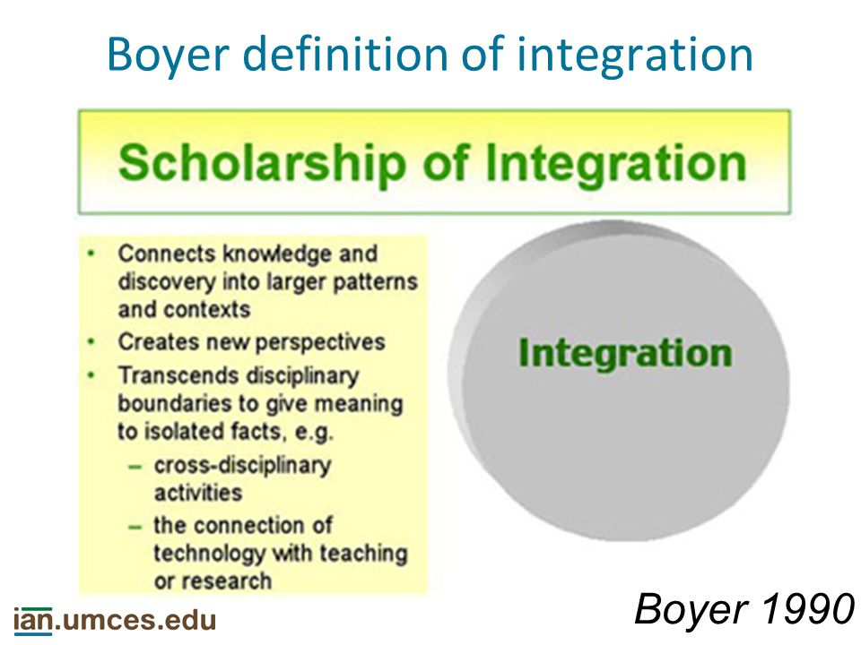 Boyer definition of integration Boyer 1990 Making connections across the disciplines, placing the specialties in larger context, illuminating data in a revealing way, often educating nonspecialists, too.