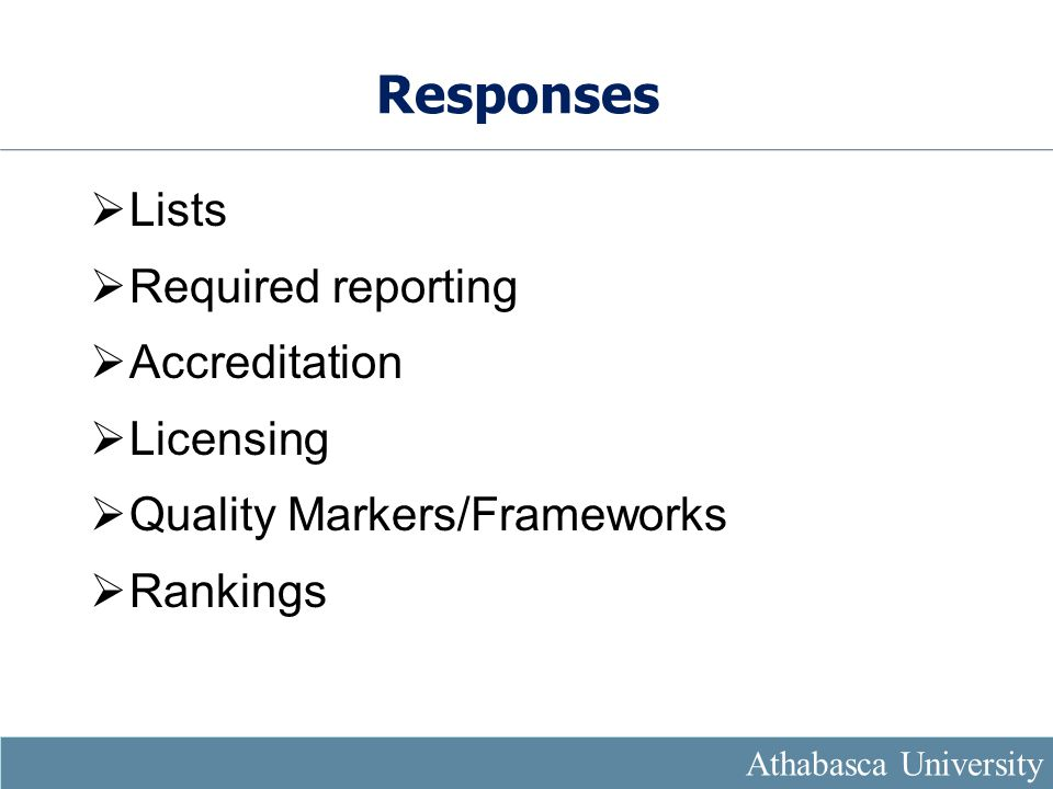 Responses  Lists  Required reporting  Accreditation  Licensing  Quality Markers/Frameworks  Rankings Athabasca University