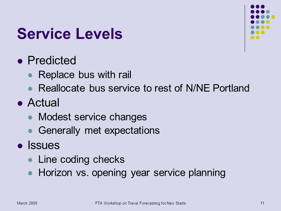 FTA Workshop on Travel Forecasting for New Starts11March 2009 Service Levels Predicted Replace bus with rail Reallocate bus service to rest of N/NE Portland Actual Modest service changes Generally met expectations Issues Line coding checks Horizon vs.