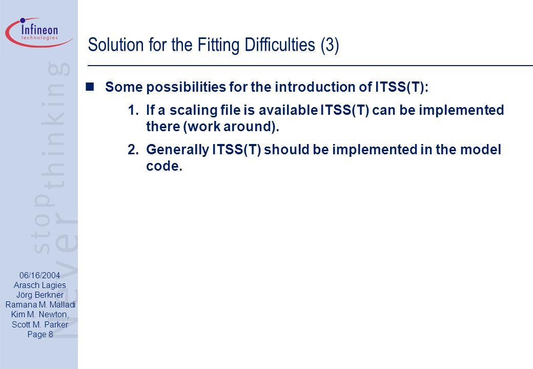06/16/2004 Arasch Lagies Jörg Berkner Ramana M. Malladi Kim M. Newton, Scott M. Parker Page 8 Solution for the Fitting Difficulties (3) Some possibili