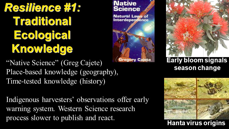 Resilience #1: Traditional Ecological Knowledge Native Science (Greg Cajete) Place-based knowledge (geography), Time-tested knowledge (history) Indigenous harvesters' observations offer early warning system.
