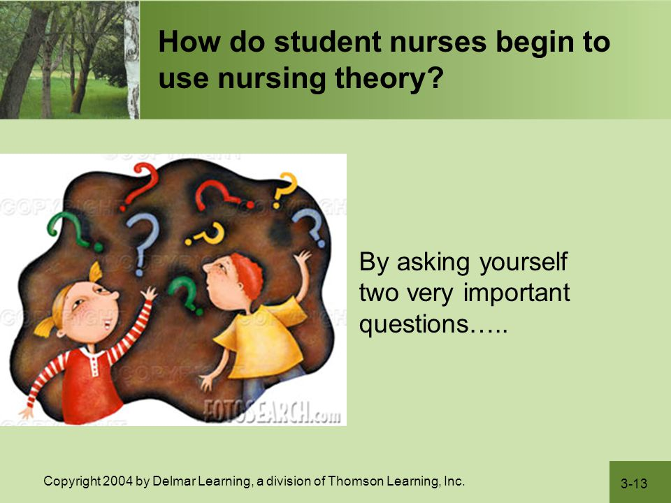 3-13 Copyright 2004 by Delmar Learning, a division of Thomson Learning, Inc. How do student nurses begin to use nursing theory?  By asking yourself t