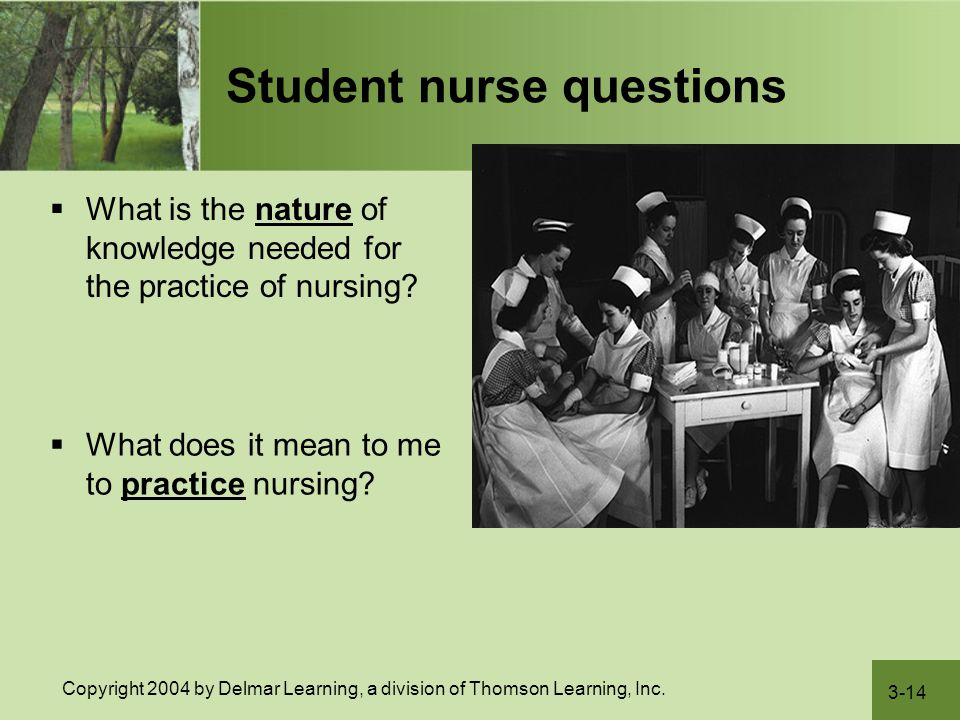 3-14 Copyright 2004 by Delmar Learning, a division of Thomson Learning, Inc. Student nurse questions  What is the nature of knowledge needed for the