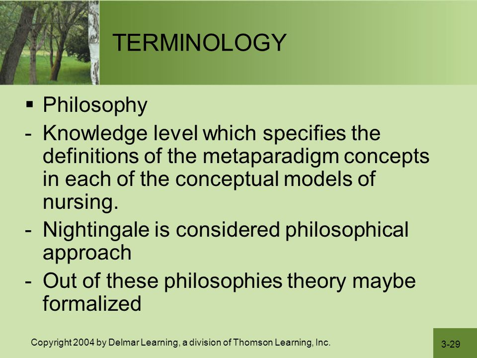 3-29 Copyright 2004 by Delmar Learning, a division of Thomson Learning, Inc. TERMINOLOGY  Philosophy -Knowledge level which specifies the definitions