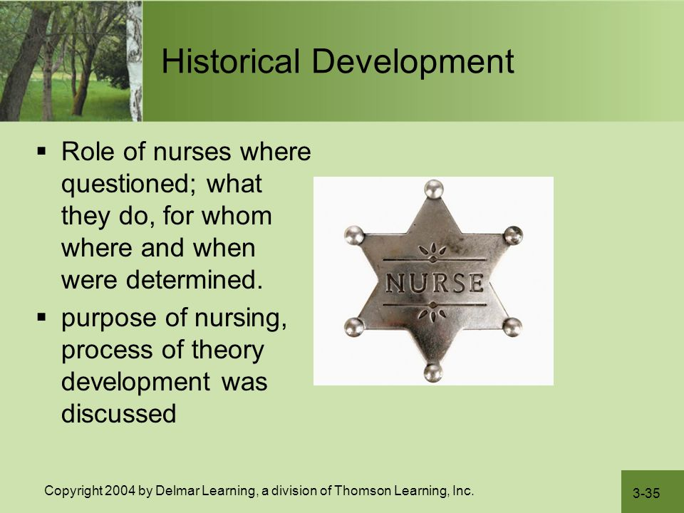 3-35 Copyright 2004 by Delmar Learning, a division of Thomson Learning, Inc. Historical Development  Role of nurses where questioned; what they do, f