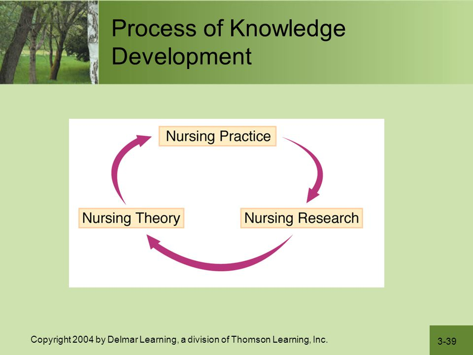 3-39 Copyright 2004 by Delmar Learning, a division of Thomson Learning, Inc. Process of Knowledge Development