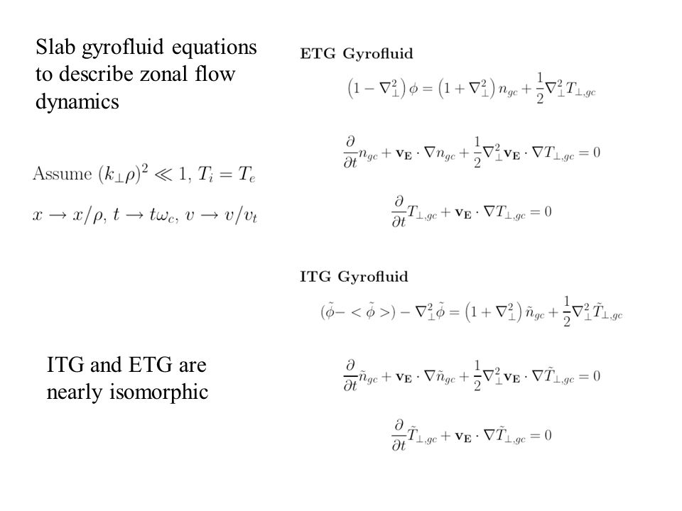 Slab gyrofluid equations to describe zonal flow dynamics ITG and ETG are nearly isomorphic