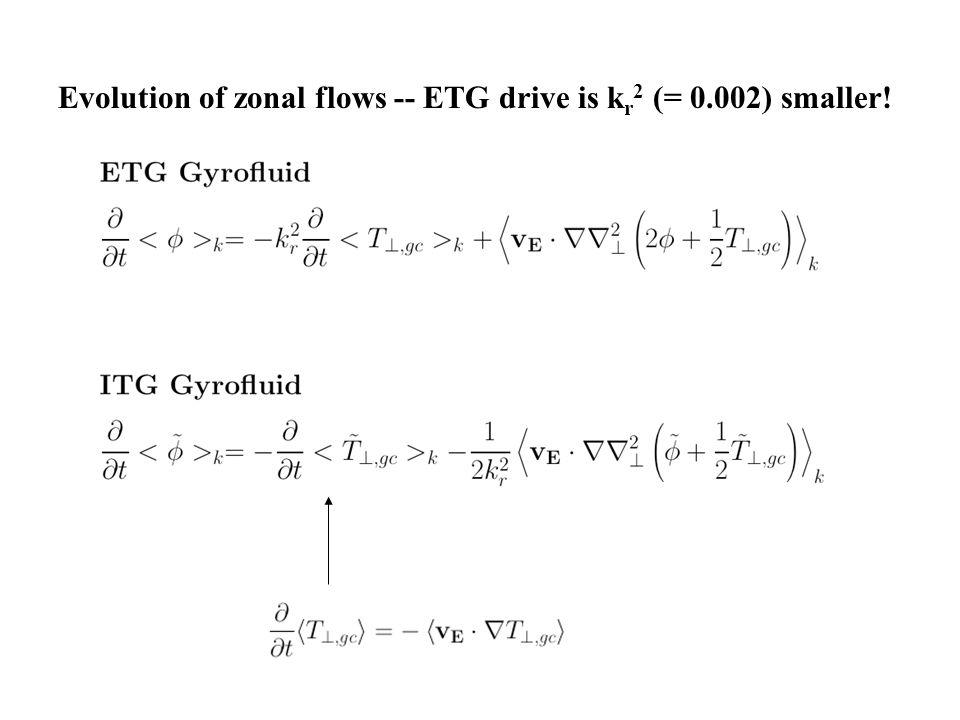 Evolution of zonal flows -- ETG drive is k r 2 (= 0.002) smaller!