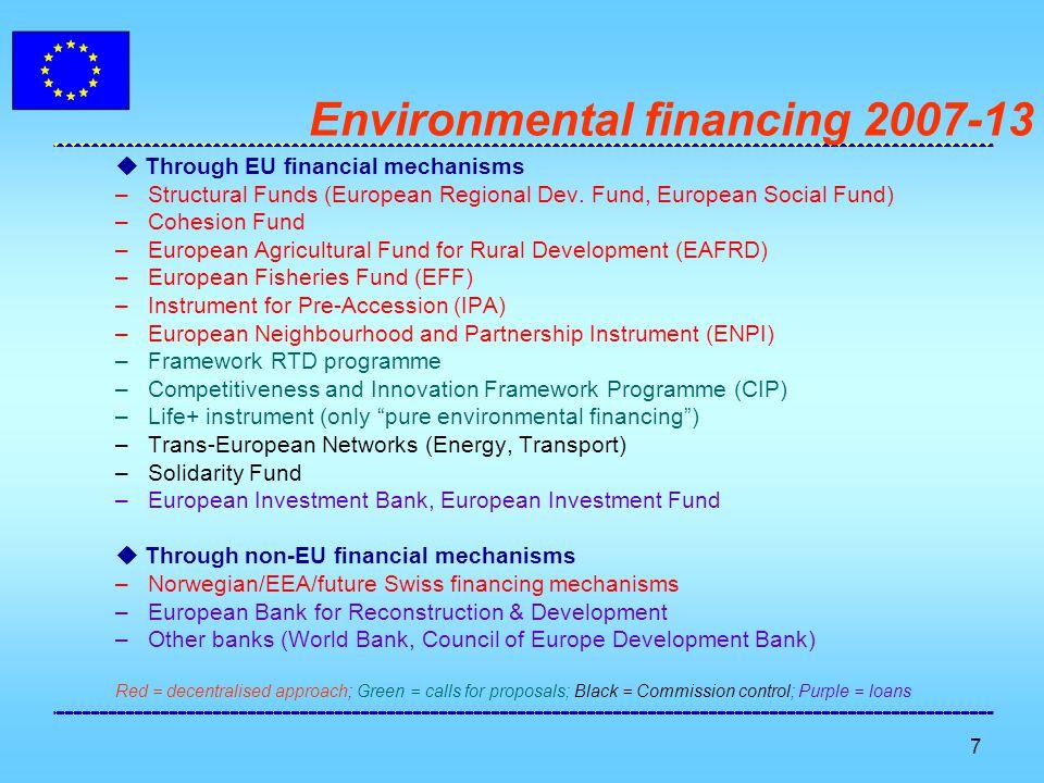 7 Environmental financing 2007-13  Through EU financial mechanisms –Structural Funds (European Regional Dev.