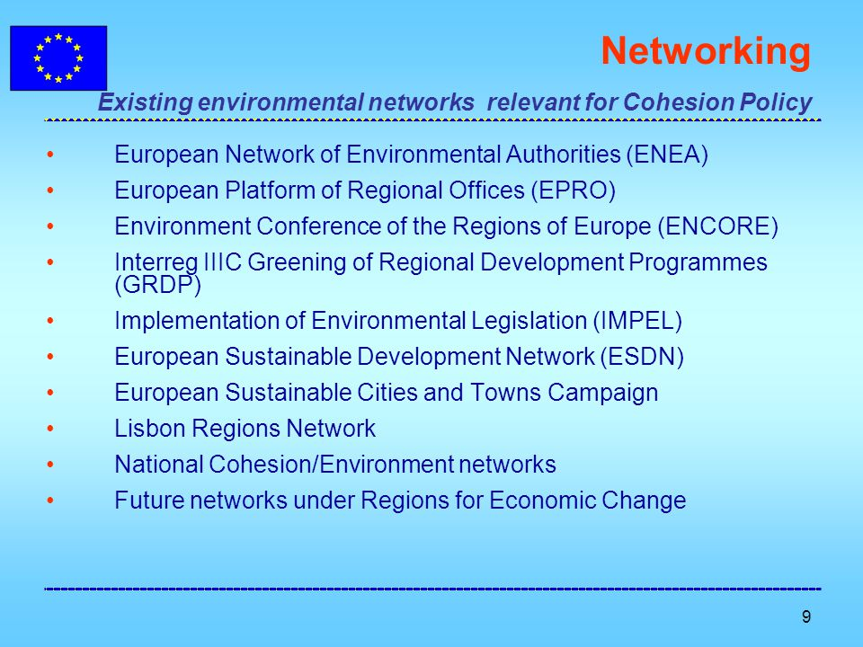 10 Links between SDS and Cohesion Policy Climate change and clean energy Achieving the Kyoto commitment on reducing GHG Renewable sources Improving energy efficiency Sustainable transport Decoupling of transport growth and GDP growth Promoting sustainable transport infrastructure (TENs) Tackling traffic volumes, congestion, noise and pollution Encouraging integrated urban development strategies Sustainable production and consumption Co-financing the improvement of products and processes Green Public Procurement (GPP) Increasing global market share of env.