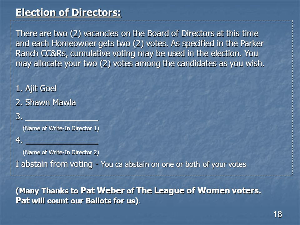18 Election of Directors: There are two (2) vacancies on the Board of Directors at this time and each Homeowner gets two (2) votes. As specified in th