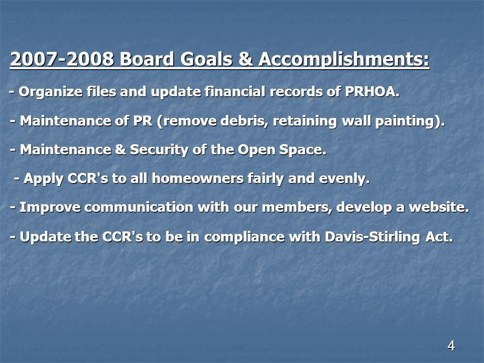 4 2007-2008 Board Goals & Accomplishments: 2007-2008 Board Goals & Accomplishments: - Organize files and update financial records of PRHOA.