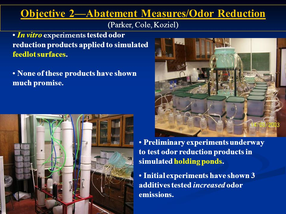 In vitro experiments tested odor reduction products applied to simulated feedlot surfaces.