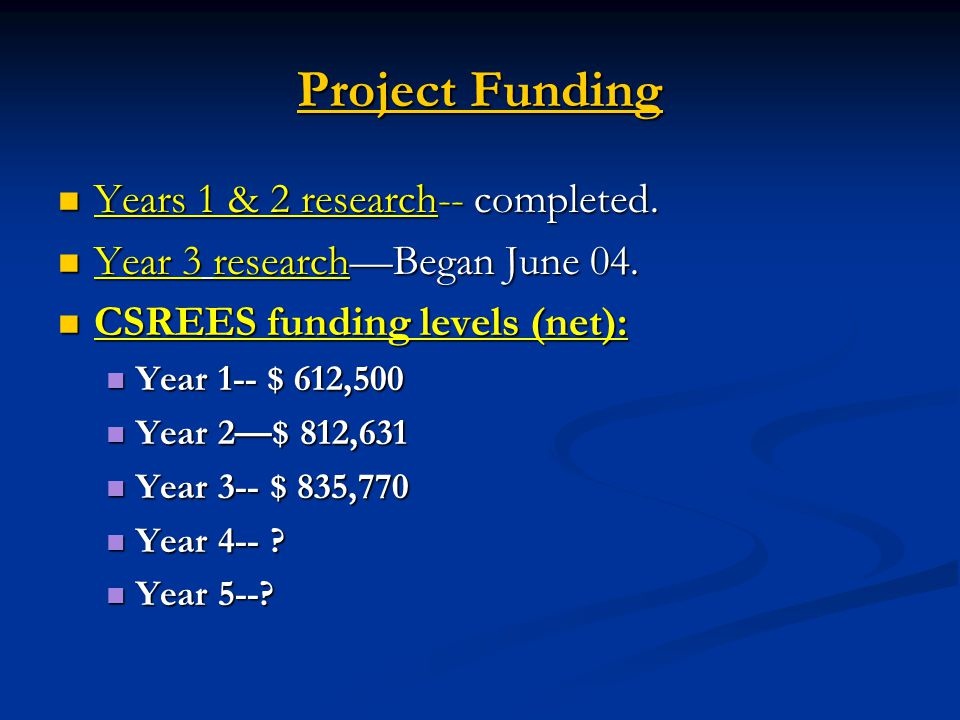 Project Funding Years 1 & 2 research-- completed.Years 1 & 2 research-- completed.