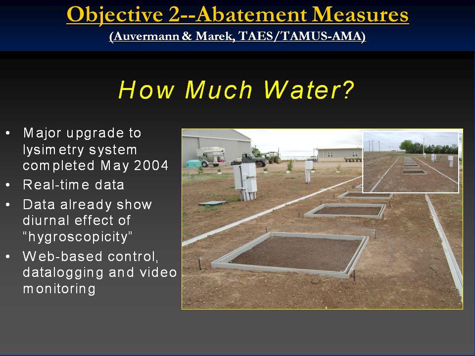 Objective 2--Abatement Measures (Auvermann & Marek, TAES/TAMUS-AMA)