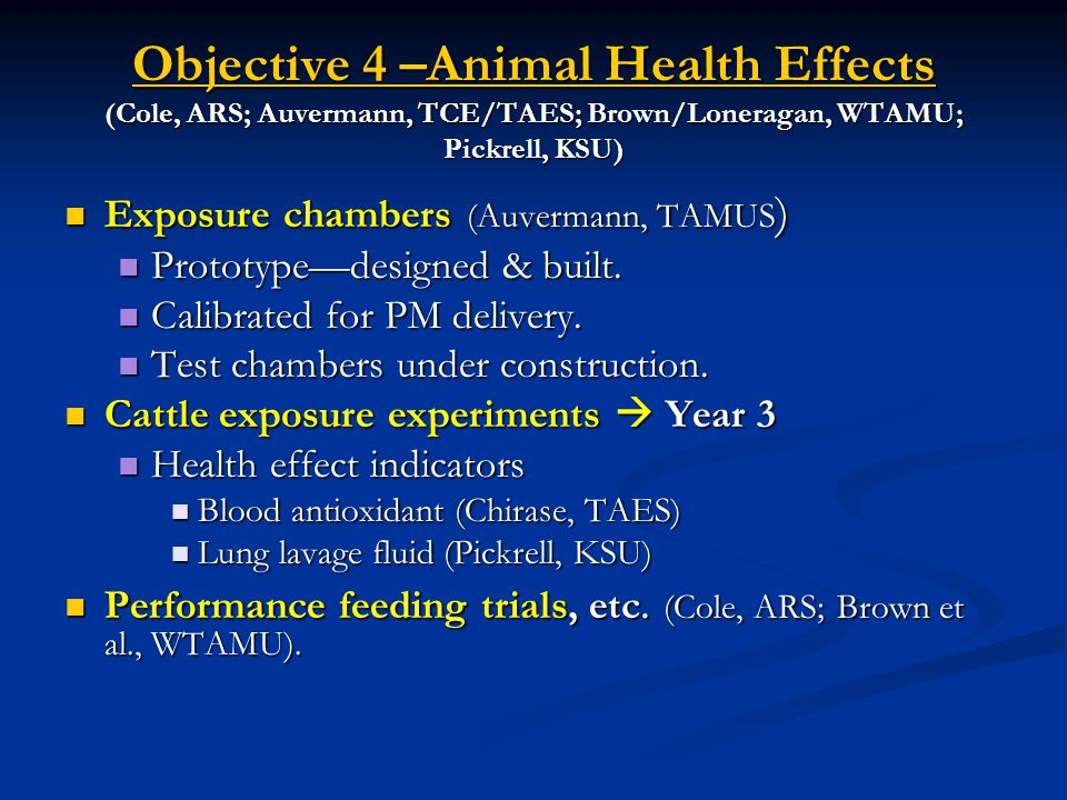 Objective 4 –Animal Health Effects (Cole, ARS; Auvermann, TCE/TAES; Brown/Loneragan, WTAMU; Pickrell, KSU) Exposure chambers (Auvermann, TAMUS ) Exposure chambers (Auvermann, TAMUS ) Prototype—designed & built.