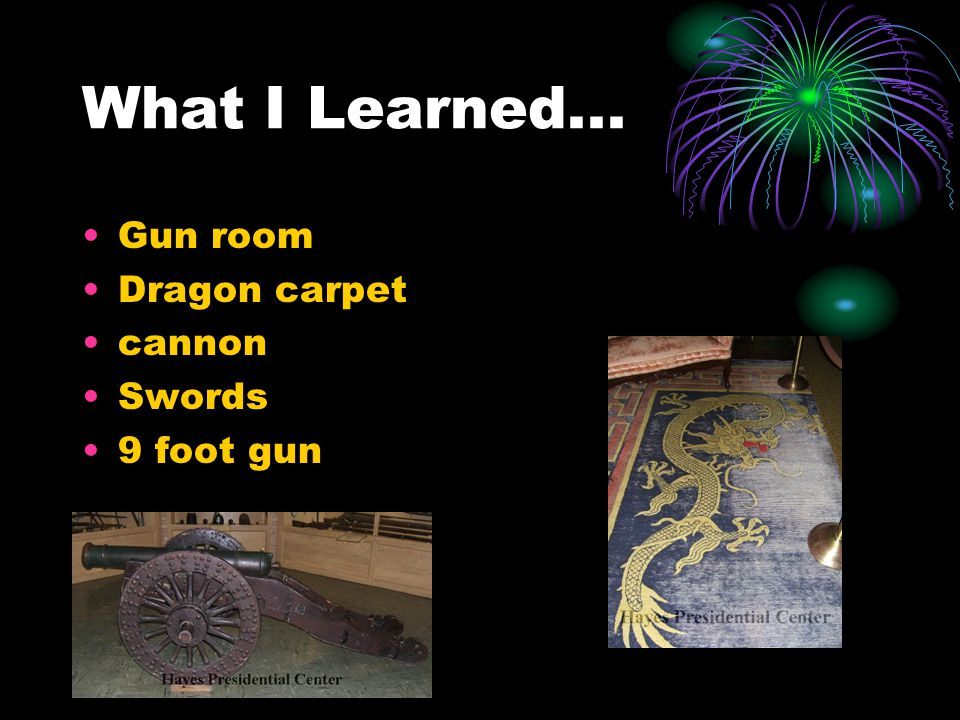 What I Learned... Gun room Dragon carpet cannon Swords 9 foot gun