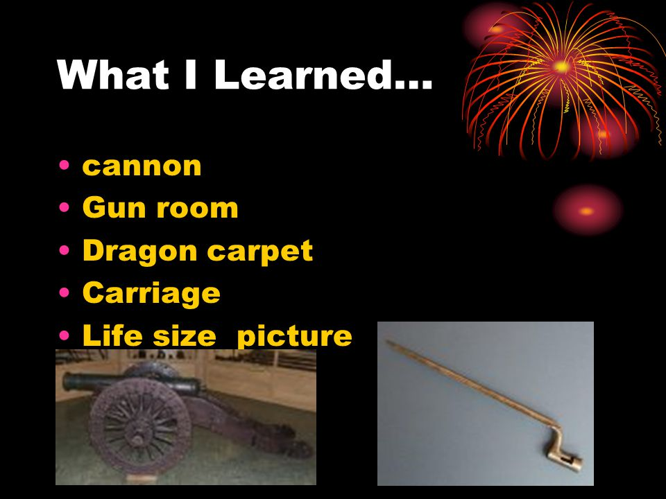 What I Learned… cannon Gun room Dragon carpet Carriage Life size picture
