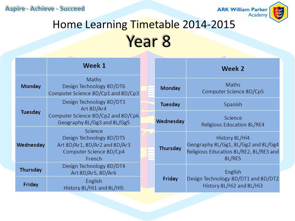 Year 8 Week 1 Monday Maths Design Technology 8D/DT6 Computer Science 8D/Cp1 and 8D/Cp3 Tuesday Design Technology 8D/DT3 Art 8D/Ar4 Computer Science 8D