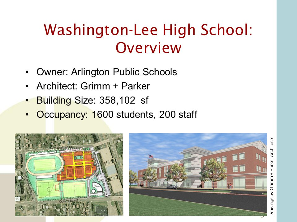 Washington-Lee High School: Overview Drawings by Grimm + Parker Architects Construction Type: New construction in coordination with phased demolition Completion Dates: Phase 1: July, 2007; Phase 2: June 2009; Phase 3 (Ballfield): Fall 2009