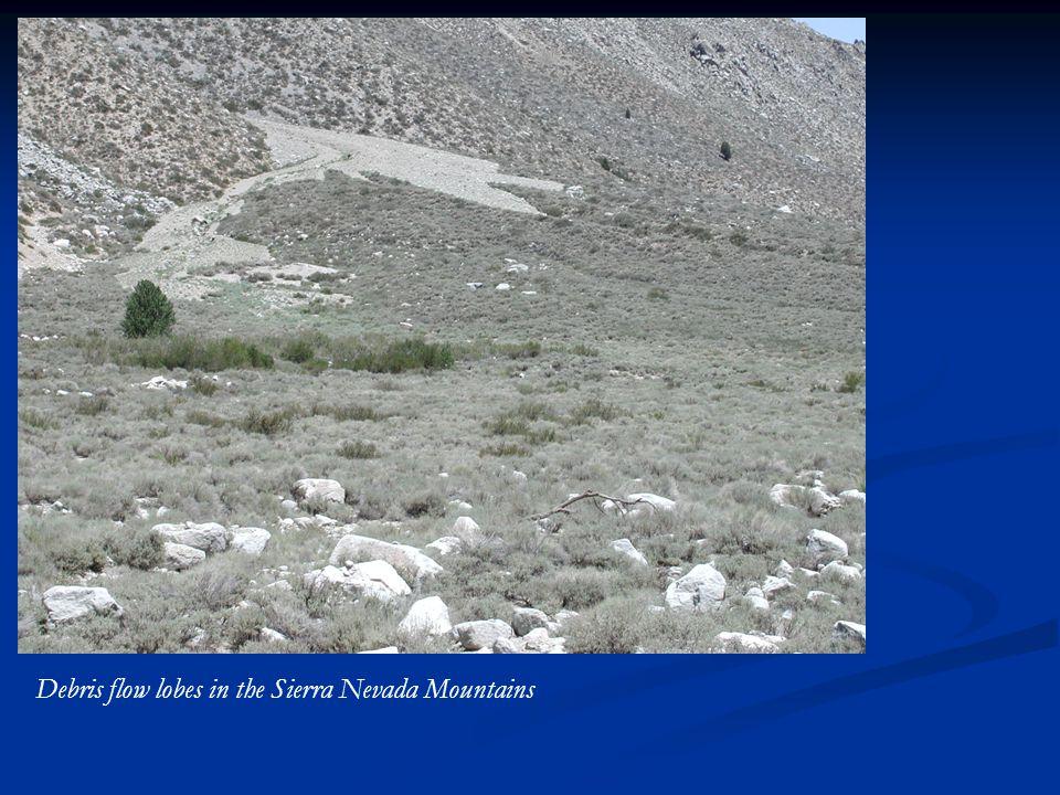 Debris flow lobes in the Sierra Nevada Mountains