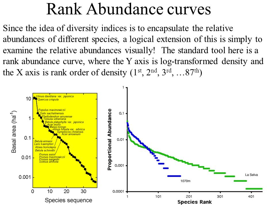 Rank Abundance curves Since the idea of diversity indices is to encapsulate the relative abundances of different species, a logical extension of this