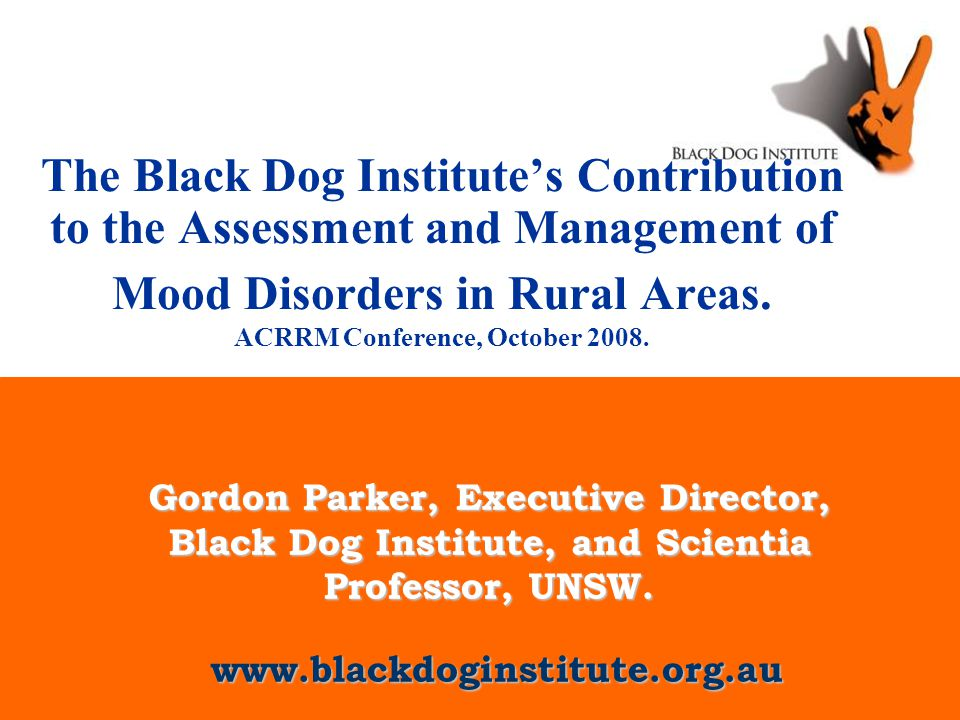 www.blackdoginstitute.org.au The Black Dog Institute's Contribution to the Assessment and Management of Mood Disorders in Rural Areas.