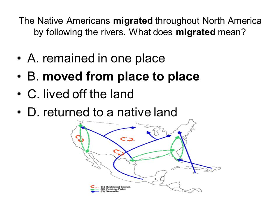 The Native Americans migrated throughout North America by following the rivers.