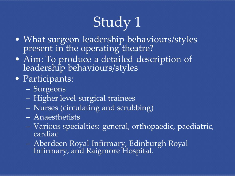 Study 1 What surgeon leadership behaviours/styles present in the operating theatre.