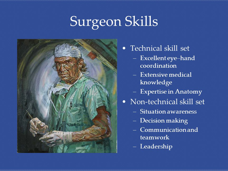 Surgeon Skills Technical skill set –Excellent eye–hand coordination –Extensive medical knowledge –Expertise in Anatomy Non-technical skill set –Situation awareness –Decision making –Communication and teamwork –Leadership