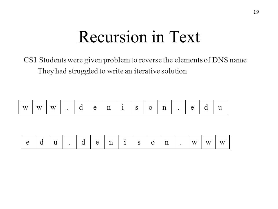 19 Recursion in Text CS1 Students were given problem to reverse the elements of DNS name They had struggled to write an iterative solution www.denison.edu www..edudenison