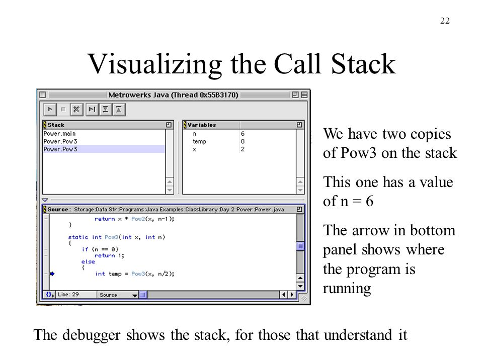 22 Visualizing the Call Stack We have two copies of Pow3 on the stack This one has a value of n = 6 The arrow in bottom panel shows where the program