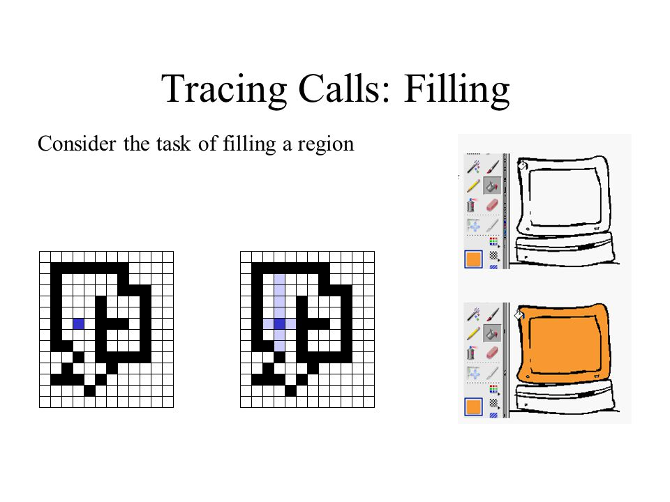 Tracing Calls: Filling Consider the task of filling a region