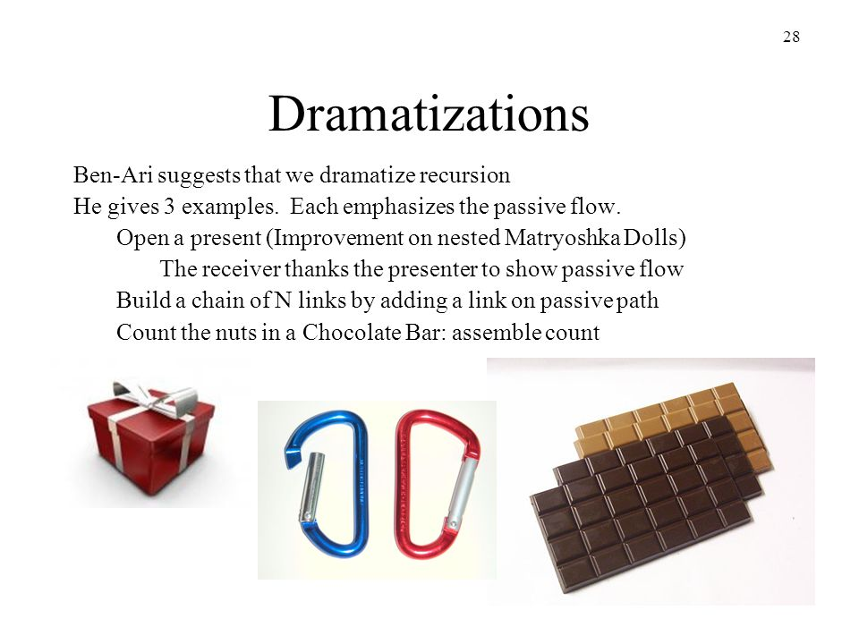 28 Dramatizations Ben-Ari suggests that we dramatize recursion He gives 3 examples.