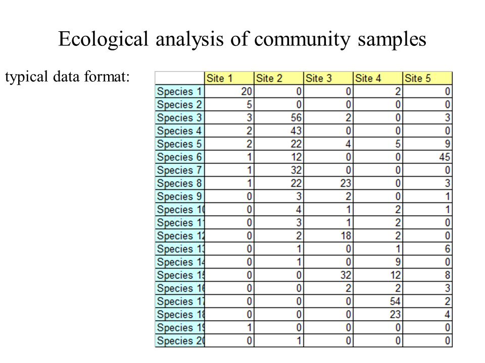 Ecological analysis of community samples typical data format: