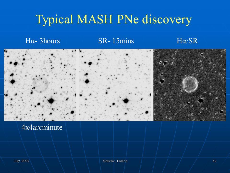July 2005 Gdansk, Poland 12 Typical MASH PNe discovery Hα- 3hoursSR- 15mins Hα/SR 4x4arcminute