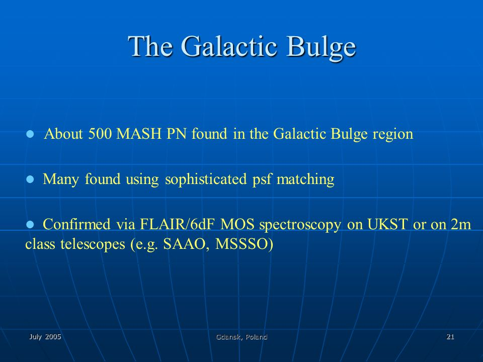 July 2005 Gdansk, Poland 21 The Galactic Bulge About 500 MASH PN found in the Galactic Bulge region Many found using sophisticated psf matching Confir