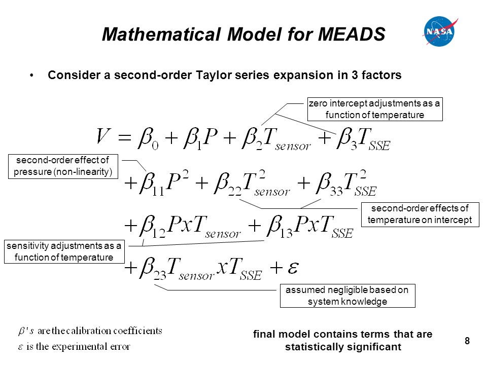 8 Mathematical Model for MEADS Consider a second-order Taylor series expansion in 3 factors zero intercept adjustments as a function of temperature sensitivity adjustments as a function of temperature second-order effect of pressure (non-linearity) second-order effects of temperature on intercept assumed negligible based on system knowledge final model contains terms that are statistically significant
